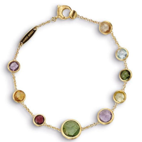 Jaipur Yellow Gold Single Strand Mixed Gemstones Bracelet