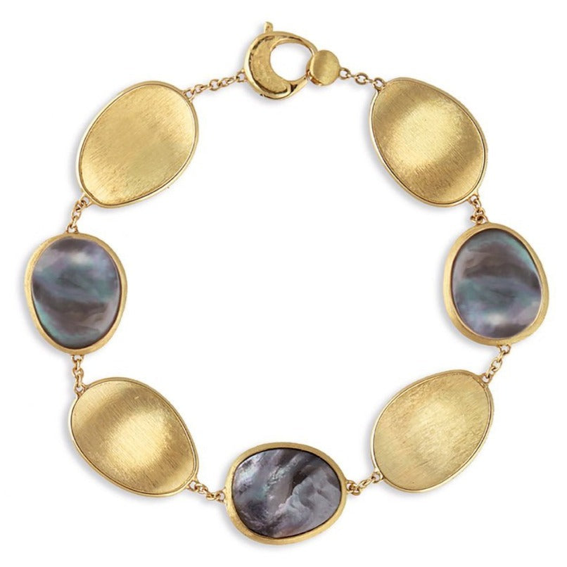 Lunaria Yellow Gold and Black Mother of Pearl Chain Bracelet