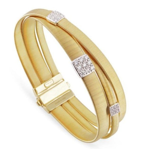 Masai Three Three Strand Crossover Diamond Bracelet in Yellow Gold