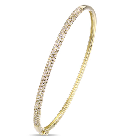 3 Row Dome Pave Diamond Bangle