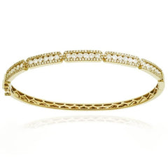 Yellow Gold Rectangle Station Pave & Channel Set Diamond Bracelet