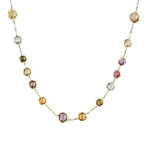 Jaipur Yellow Gold & Mixed Gemstones Small Bead Necklace