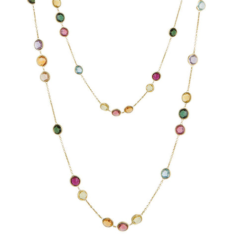 Jaipur Yellow Gold & Mixed Gemstones Small Bead Long Necklace