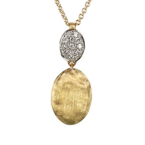 Siviglia Yellow Gold & Diamond Pave Two Bead Pendant