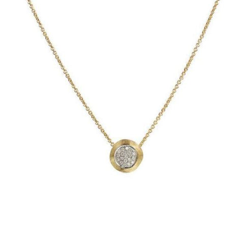 Delicati Yellow Gold & Diamond Pave Bead Pendant