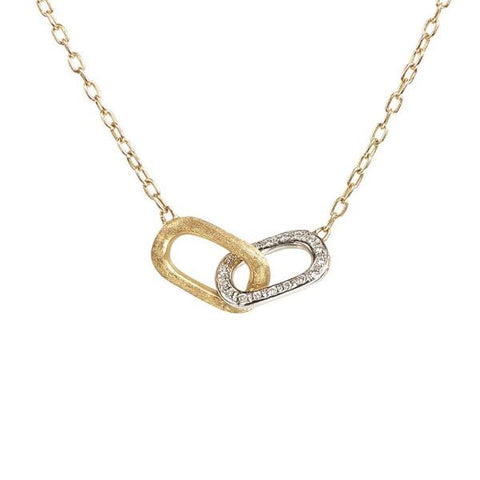 Delicati Yellow Gold & Diamond Rectangle Link Pendant