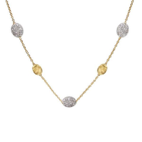 Siviglia Yellow Gold & Diamond Pave Small Bead Necklace