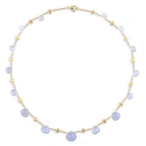 Paradise Yellow Gold & Chalcedony Graduated Short Necklace