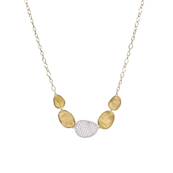 Lunaria Yellow Gold & Diamond Pave Graduated Necklace