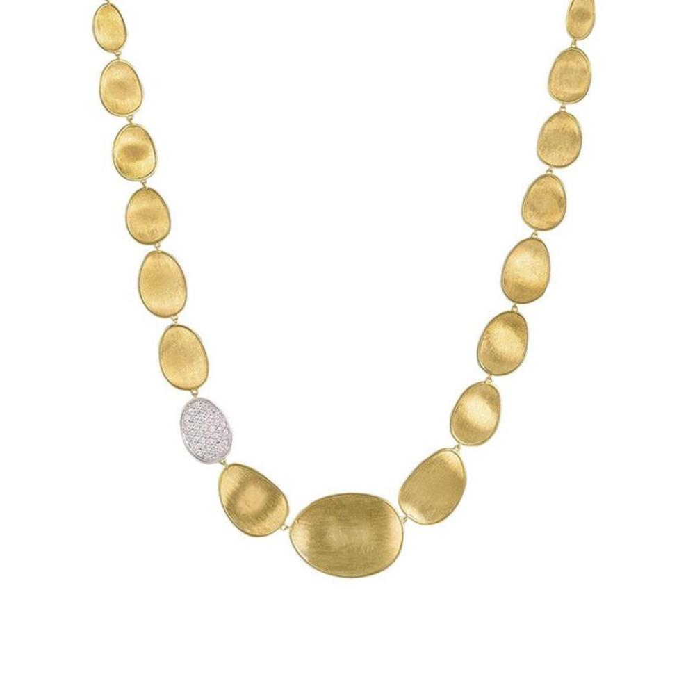 Lunaria Yellow Gold & Diamond Pave Small Single Station Collar Necklace
