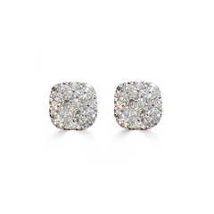 18K Cushion Illusion Cluster Diamond Stud Earrings