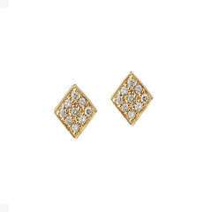 Tiny Diamond Shape Pave Stud Earrings