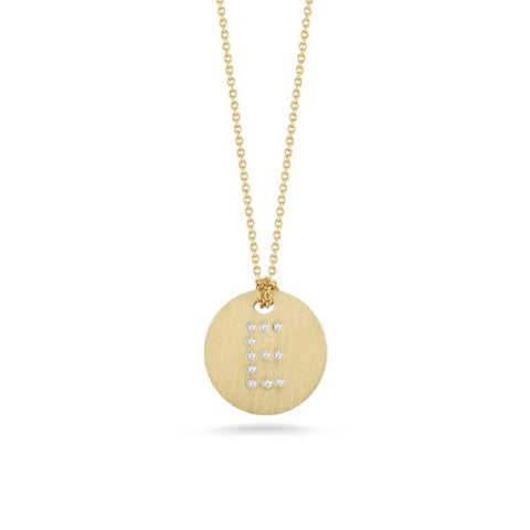 "Yellow Disc with Diamond Initial ""E"" Pendant"