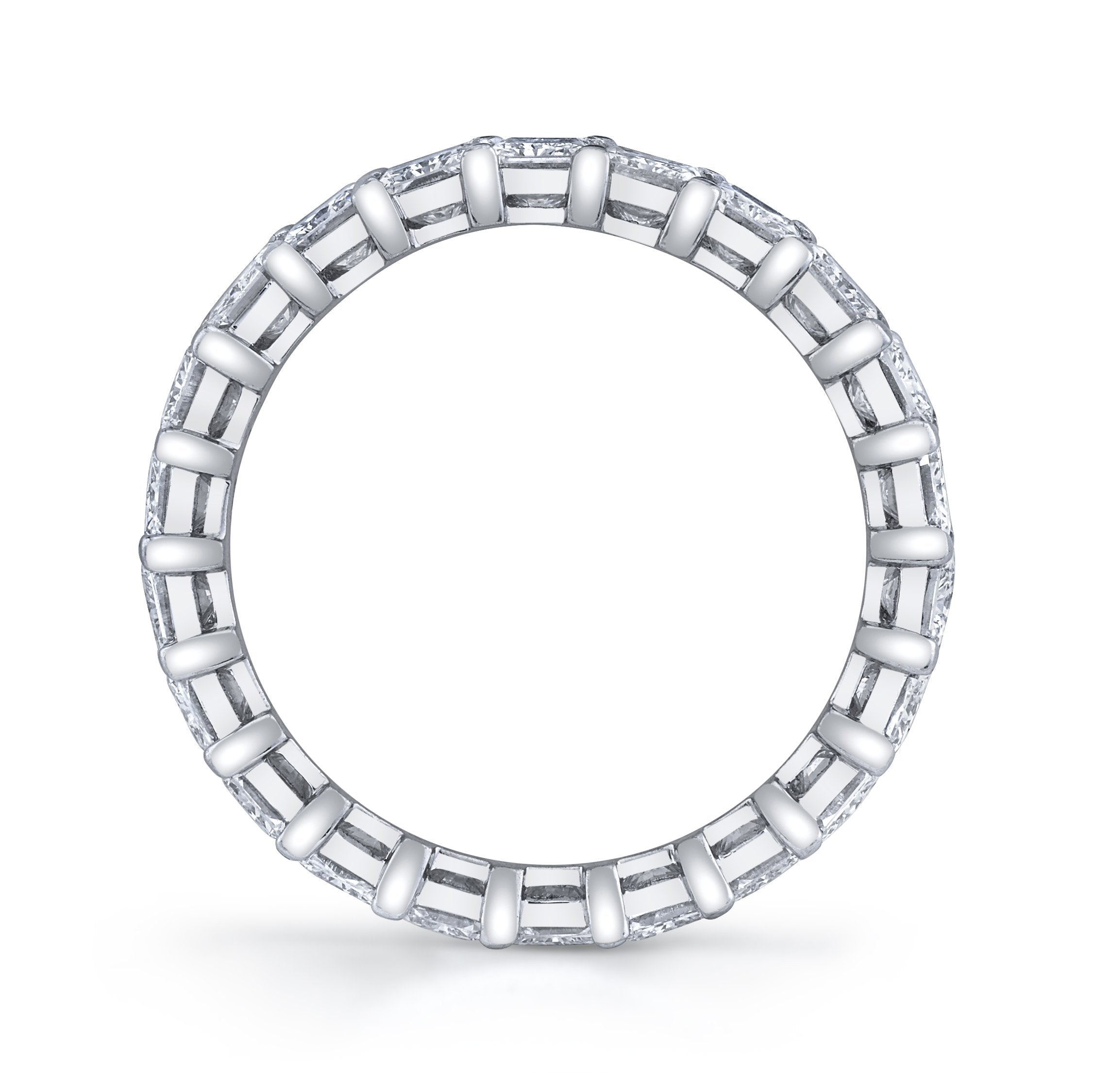 Classic Eternity Radiant Cut Prong Set Diamond Band | North to South