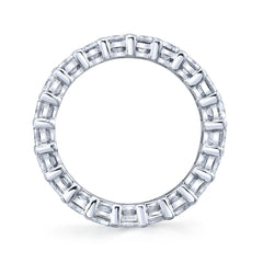 Classic Eternity Emerald Cut Prong Set Diamond Band | North to South