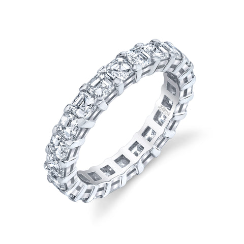Classic Eternity Asscher Cut Prong Set Diamond Band