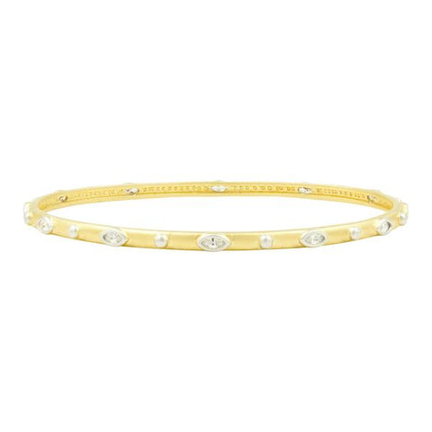 Marquise Round Slide-On Round Bangle | Platinum & 14K Gold on Sterling Silver