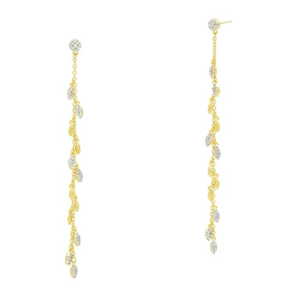 Linear Charm Drop Earrings | 14K Gold & Platinum on Sterling Silver
