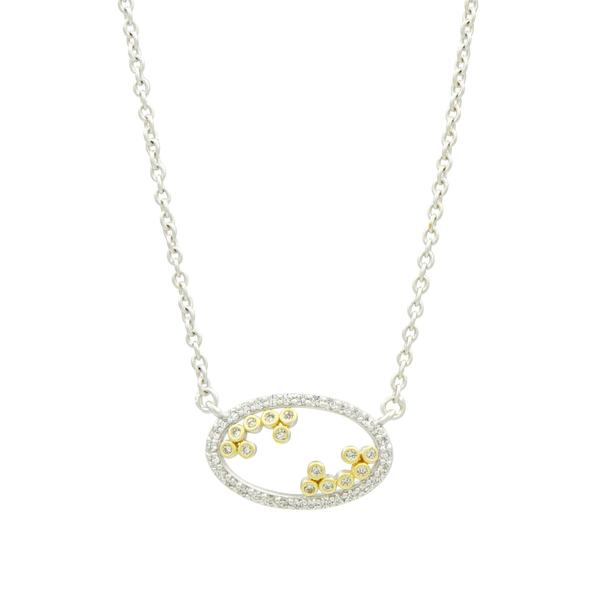 Open Oval Bezel Fleur Bloom Pendant | 14K Gold & Platinum on Sterling Silver