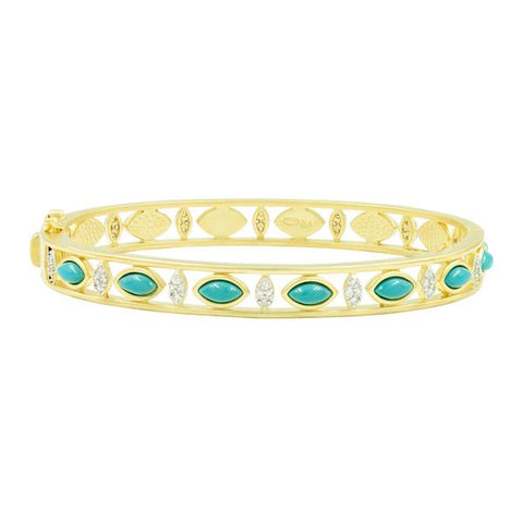 Marquise Shape Turquoise Fleur Bloom Hinge Bangle | 14K Gold on Sterling Silver