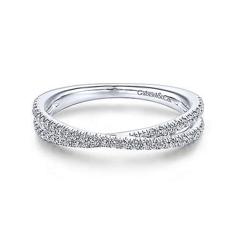 Delicate Cross-Over Pave Diamond Band