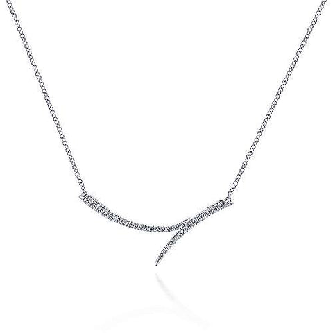 Curved Bypass Diamond Pave Bar Pendant Necklace
