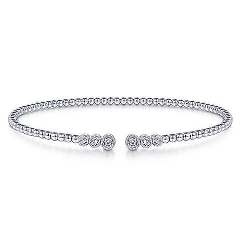 Open Graduating Milgrain Bezel Beaded Diamond Bangle