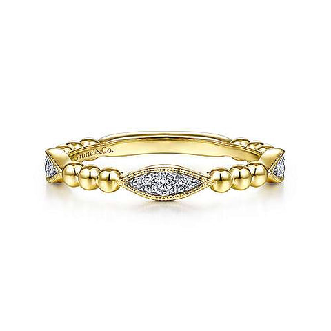 Beaded Marquise Alternating Pave Diamond Band