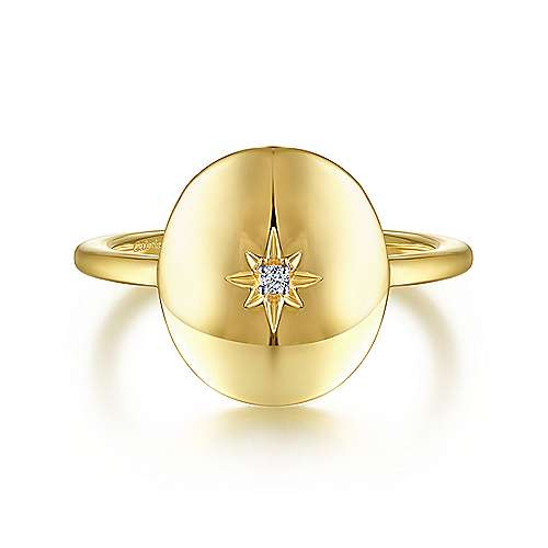 Oval Medallion Star Diamond Signet Ring