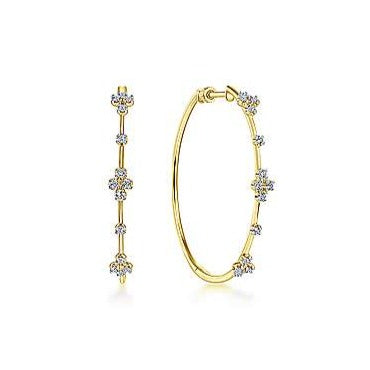 14K Floral Station Diamond Pave Hoop Earrings