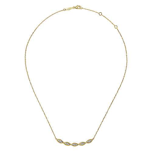 Rope Edge Marquise Station Curved Diamond Bar Pendant Necklace
