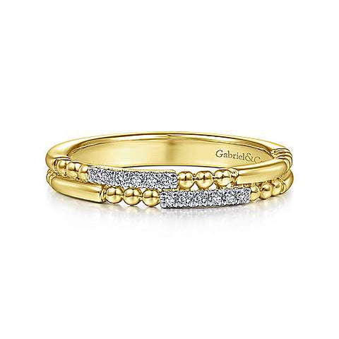 Double Row Beaded Alternating Pave Diamond Band