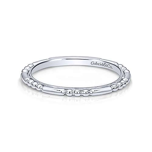 Slim Beaded Bar Stackable Band