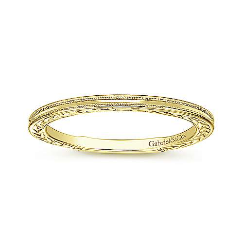 Slim Milgrain Engraved Stackable Band