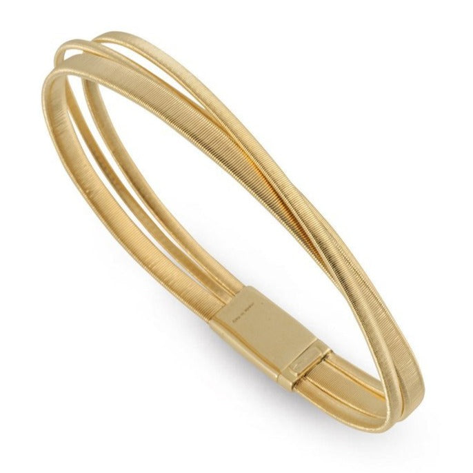 Masai 3 Row Crossover Plain Bracelet in Yellow Gold