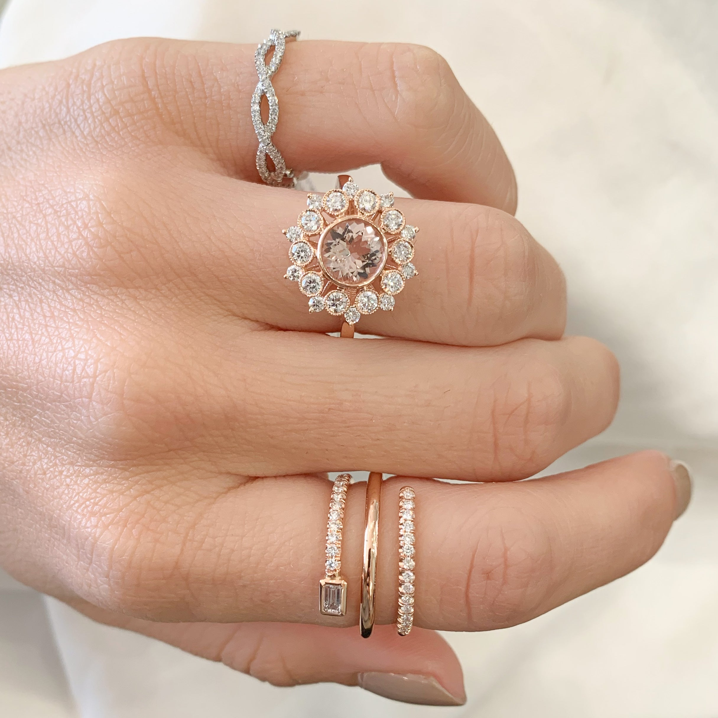 Rose Gold Open Swirl Baguette Bezel Diamond Pave Band