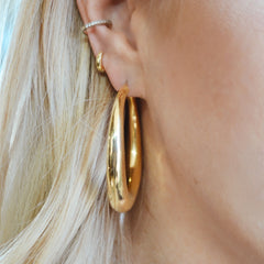 Large Chunky Tube Hoop Earrings