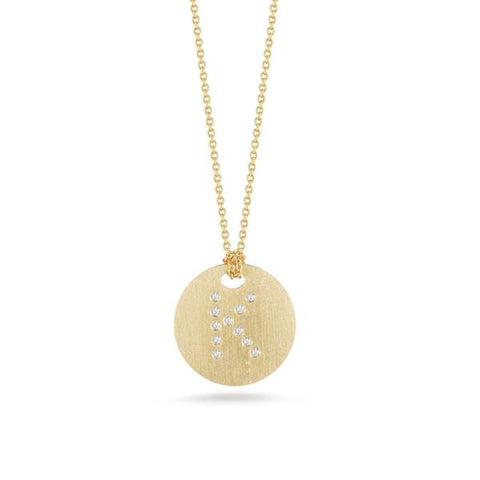 "Yellow Disc with Diamond Initial ""K"" Pendant"