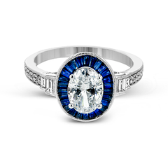 White Classic Romance Blue Sapphire Baguette Oval Halo Ring with Diamonds