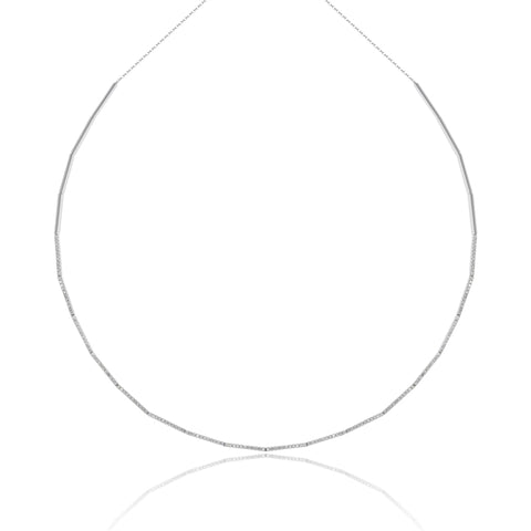 Pave Line Delicate Tennis Necklace