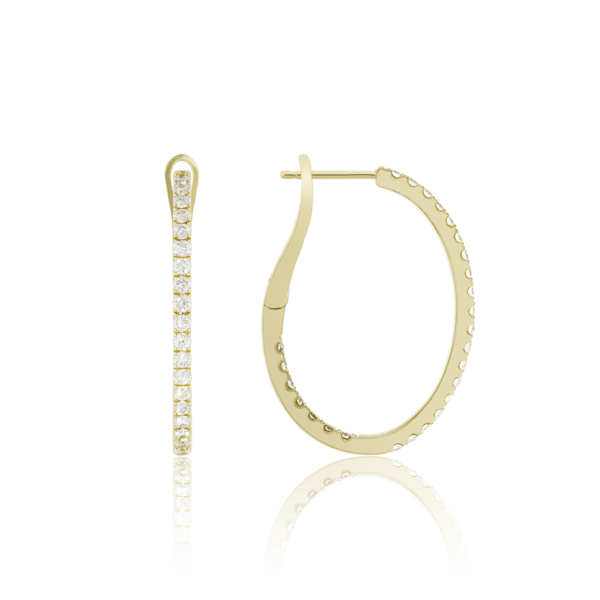 Medium Inside Outside Oval Diamond Pave Hoop, .82ctw