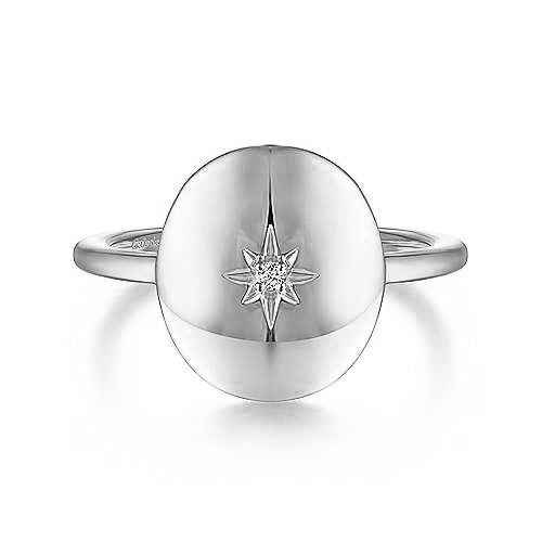 Medallion Diamond Signet Ring
