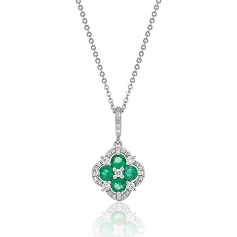 White Gold Emerald & Diamond Flower Halo Pendant