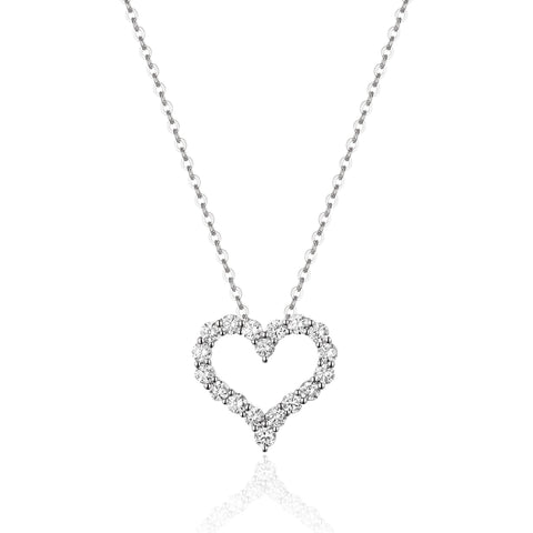 White Gold Small Diamond Pave Open Heart Pendant