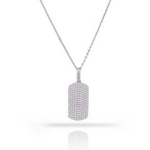 White Gold Diamond Pave Rectangle Pendant