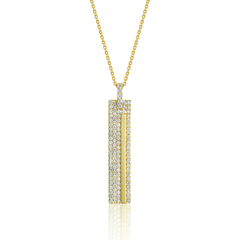 Yellow Gold Diamond Pave Long Rectangle Pendant
