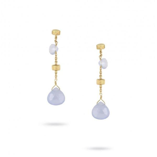 "Paradise Yellow Gold & Chalcedony Short 1.45"" Drop Earrings"