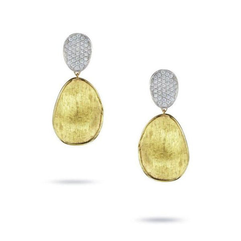 Lunaria Yellow Gold & Diamond Pave Small Double Drop Earrings
