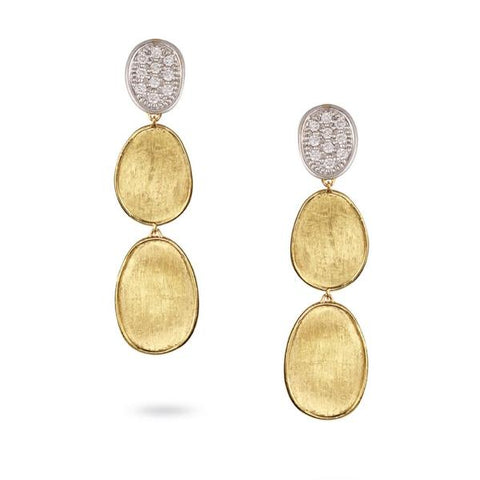 Lunaria Yellow Gold & Diamond Pave Small Triple Drop Earrings