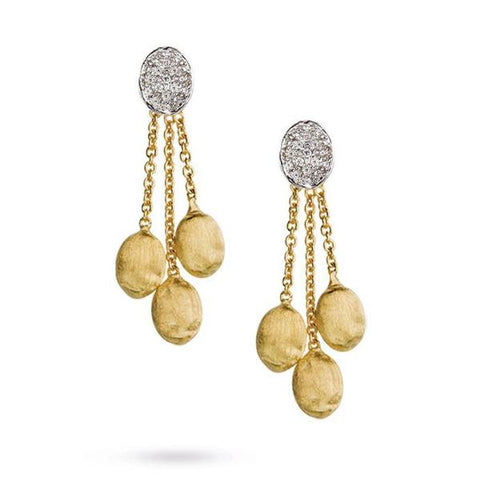 Siviglia Yellow Gold & Diamond Pave Three Strand Earrings